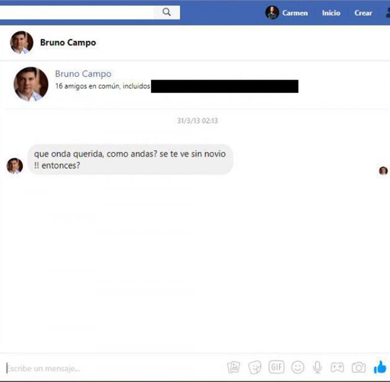 Mensaje de Bruno Campo a Carmen Leiva, 2013.