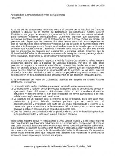 Carta de alumnas y egresadas de la Facultad de Ciencias Sociales UVG